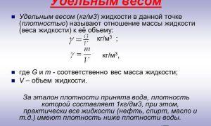 Как определить удельный вес по формуле